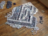 Laundered (currently in-process), Dryer Lint, 7 feet x 9 feet